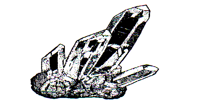 This drawing of an example of what crystal quartz clusters look like Quartz Crystals Drawing